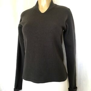 Armani-Collezioni-Wool-Cashmere-Sweater-Top-Long-Sleeve-Knit-S-Gray-Pullover