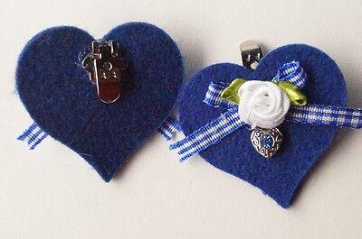 5cm Filz Trachtenschuhe Trachtenschmuck Landhaus 2 Schuhclips Royalblau Herz ca