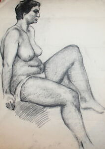 Antique-Nude-Woman-Portrait-Charcoal-Drawing