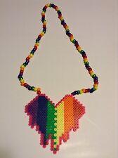 Rainbow heart perler kandi, EDC, rave, PLUR, art, Pride, LGBT, sprite, hama