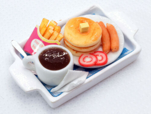 Dollhouse Miniature Food Pancake French Fries and Coffee,Tiny Food 1:12 Scale
