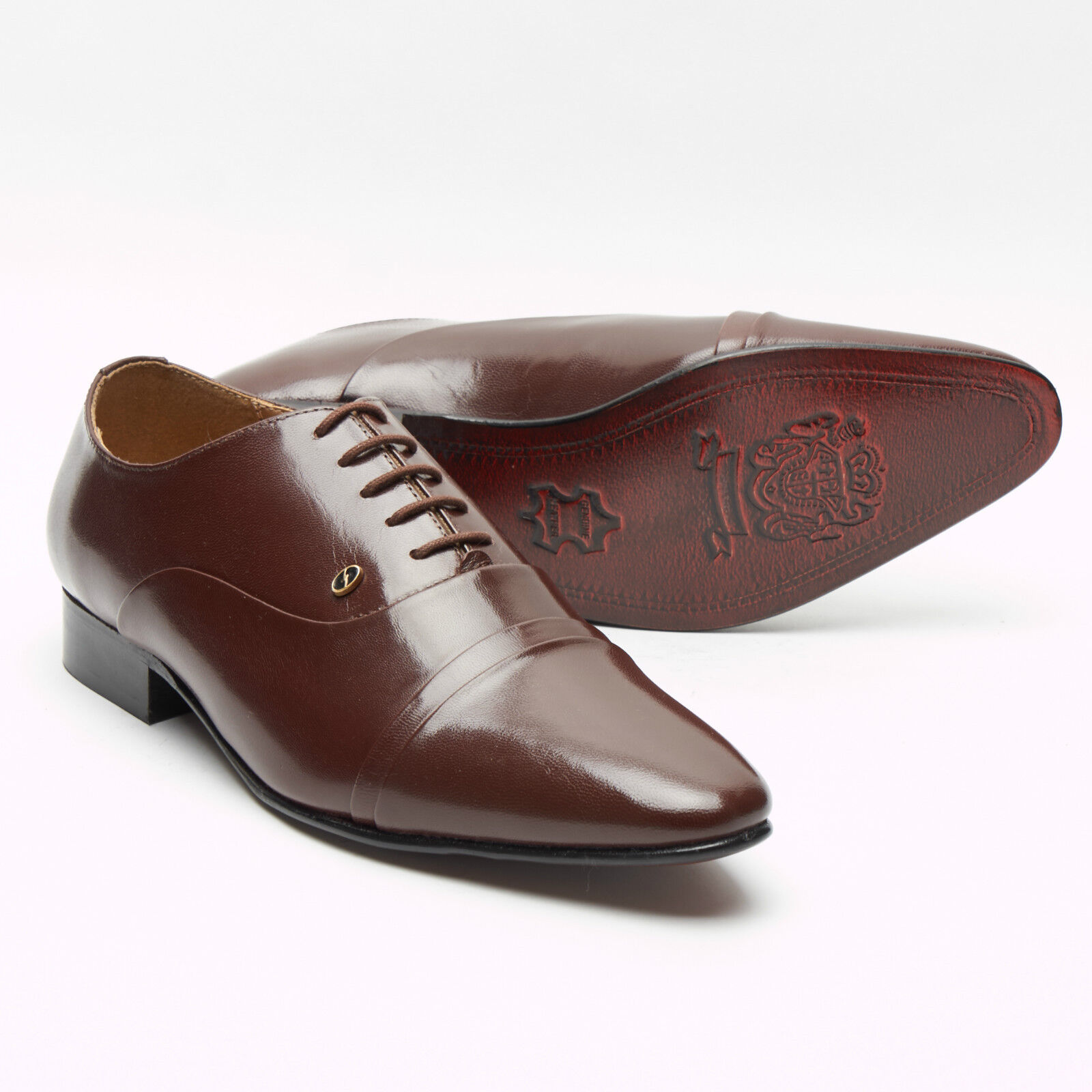 f635290f7ad65 MENS BROWN LUCINI LEATHER SMART FORMAL LACE SHOES,LOW HEEL SIZES 6-11 33451  UP nofwlx2360-Formal Shoes
