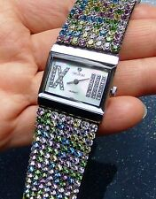 CROTON WOMEN'S WATER RESISTANT WATCH WITH PASTEL CRYSTALS ON LEATHER BAND