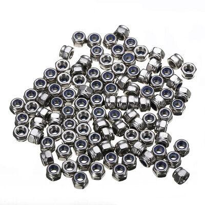 100pcs M3 x 0.5mm Stainless Steel Nylock Nylon Insert Hex Self-locking Nuts Z LL