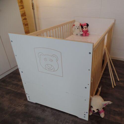 Babybett Komplett Set Gitterbett Juniorbett 5Farben UMBAUBAR 70x140 cm weiß Neu