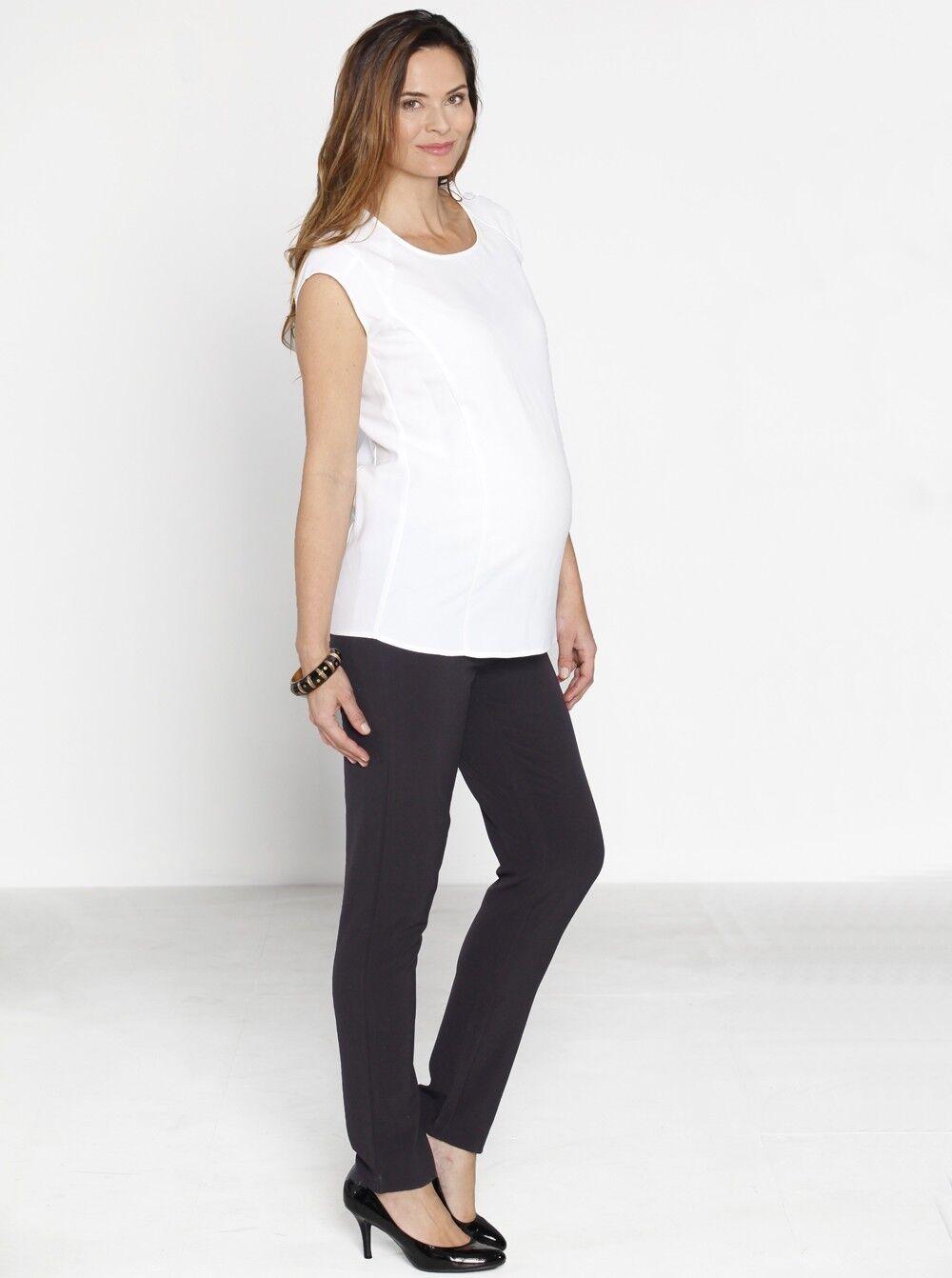 Maternity Pants in Straight Slim Leg - Dark Grey
