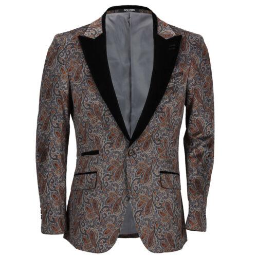 Mens Velvet Tuxedo Jacket Black Peak Lapel Floral Paisley Print Slim Fit Blazer