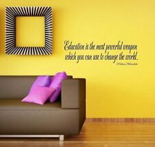 Education is powerful weapon Nelson Mandela Wall Decal vinyl letter word quote