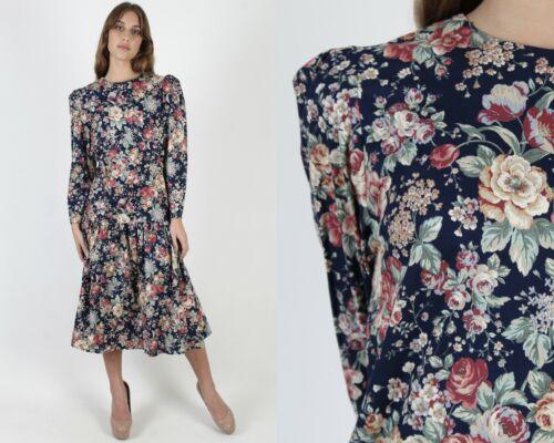 Vintage 80s Homespun Country Dress Prairie Floral