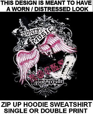 1434P Cowboy Pink Boots Hoodies Girls Western Country Hat Hooded Sweatshirt