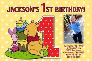 Pooh Piglet 1st Birthday Invitation