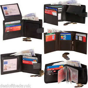 Mens-Genuine-Real-Leather-Wallet-Black-Brown-Credit-Card-Coin-Purse-Holder