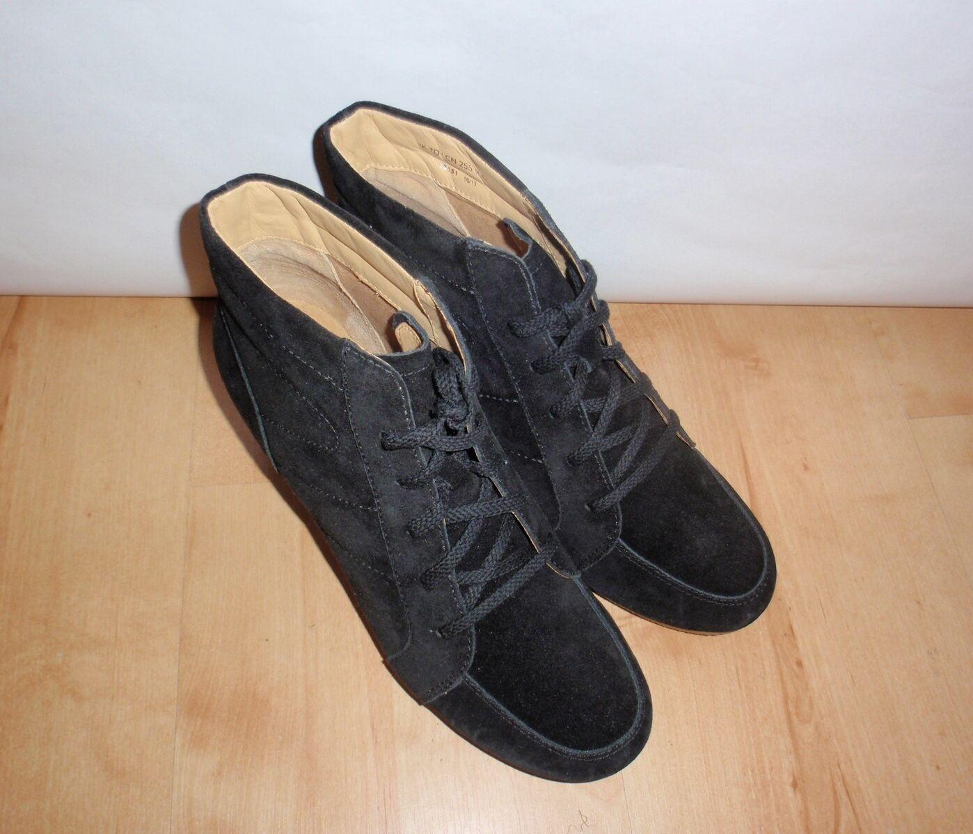 NEU Clarks Originals Damenss YARRA CHIC schwarz suede wedge heeled boots Größe 7 D
