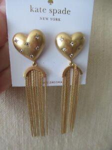 c9e546ed2 NWT Kate Spade My Precious Gold Tone Heart Drop Earrings/ Fringe ...