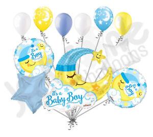 11 Pc Baby Boy Sleeping Moon Balloon Bouquet Party Decoration
