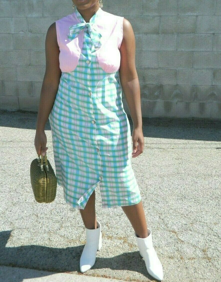 1970s pink checked midi dress 70s vintage plaid secretary dress size ML