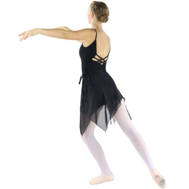 Danzcue Womens Chiffon Ballet Dance Wrap Skirt With Waist Tie