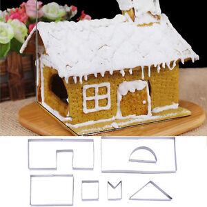 3d Christmas Gingerbread House Diy Mold 7pcs Cookie Cutter