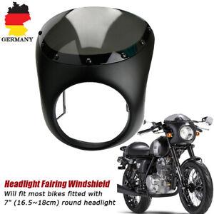 Retro-7-034-Matt-Schwarz-Motorrad-Scheinwerfer-Verkleidung-Lampenmaske-fuer-Harley
