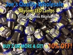 10-BAYONET-LED-LAMPS-6-3V-AC-COOL-BLUE-STEREO-BA9s-MC-MAC-PANEL-1888-1847