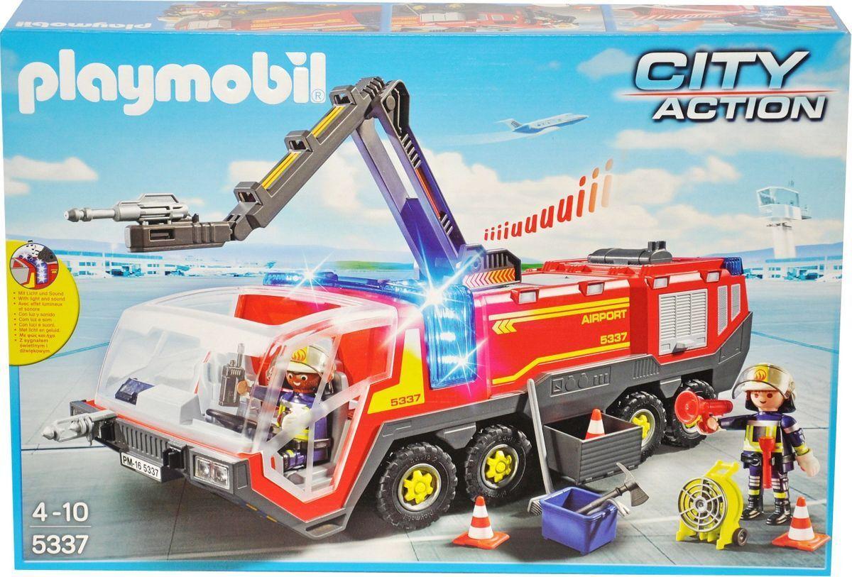 Playmobil 5337 City Action Flughafenlöschfahrzeug mit Licht Feuerwehr