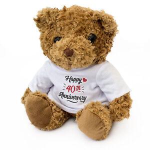 NEW-HAPPY-40th-ANNIVERSARY-Teddy-Bear-Cute-Cuddly-Gift-Present-40-Years