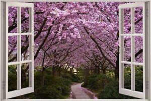 Huge-3D-Window-view-Purple-Forest-Wall-Sticker-Mural-Film-Decal-Wallpaper-S91
