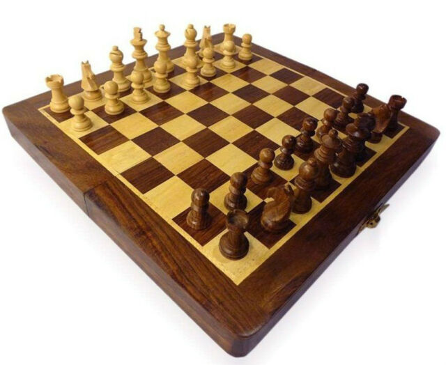 "QualityShopping Wooden Foldable Chess Board Box 12 x12"" & Wooden carved Coins"