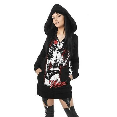 Vixxsin Bad Bettie Hood Ladies Black Goth Emo Punk Alt Hoodie Sale Clearance New