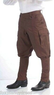 20s STEAMPUNK VICTORIAN SCI FI  BREECHES FANCY DRESS BROWN TROUSERS PANTS