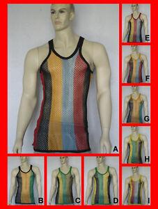 Superior Hombre De Músculo Cuerdas Detalles Entallado Rayas Camiseta Malla Rejilla Rasta SMVpUz