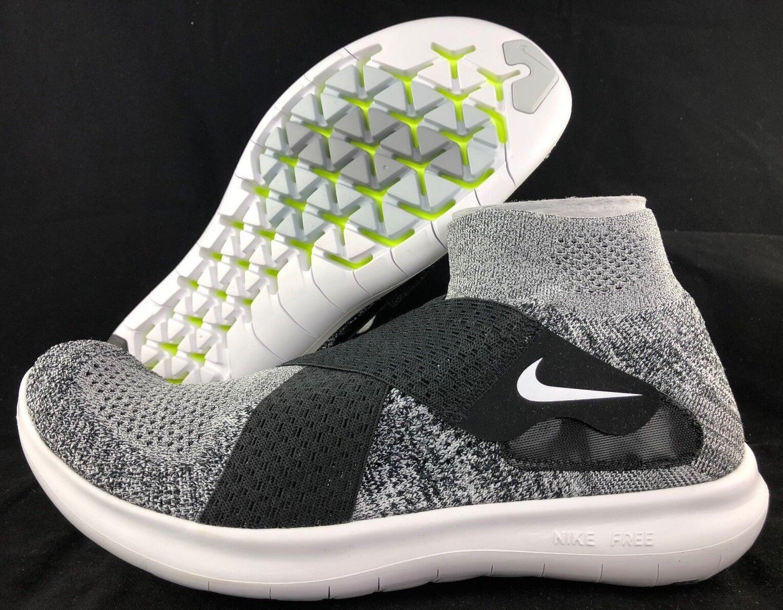 Nike Free RN Run Motion FK Flyknit 2018 Black White Grey 880845-001 Men's 10-13