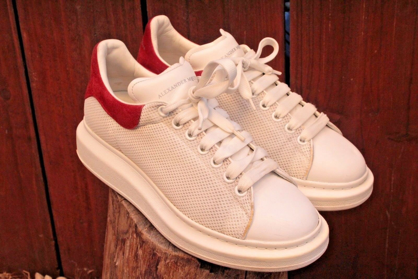 Mens Alexander Mcqueen Oversized Sneakers Shoes White Size 10 Leather Triple S