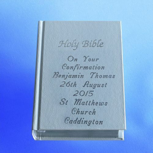 Personalised on front /& back cover WHITE Confirmation gift bible boxed.