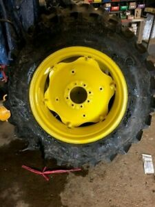 2-USED-13-6X28-FIRESTONE-SAT-II-23-degree-R1-8PLY-TIRES-WITH-WHEELS-AND-CENTERS