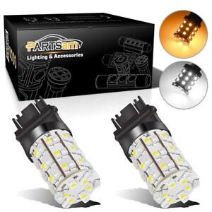 2x-Amber-White-3157-3457-3357-Switchback-60-3528-SMD-LED-Turn-Signal-Light-Bulb