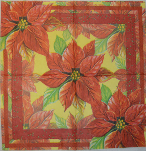 PAPER TABLE NAPKINS FOR CRAFT VINTAGE CHRISTMAS FLOWER DECOUPAGE TEA PARTIES 369