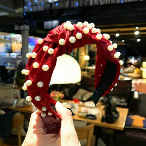 Women Fabric Pearl Hairband Bow Knot Cross Headband Girl Hair Band Headwear