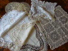 7 Pretty Vintage Antique Table Mats Cotton Linen Bundle Lob Lot Maltese