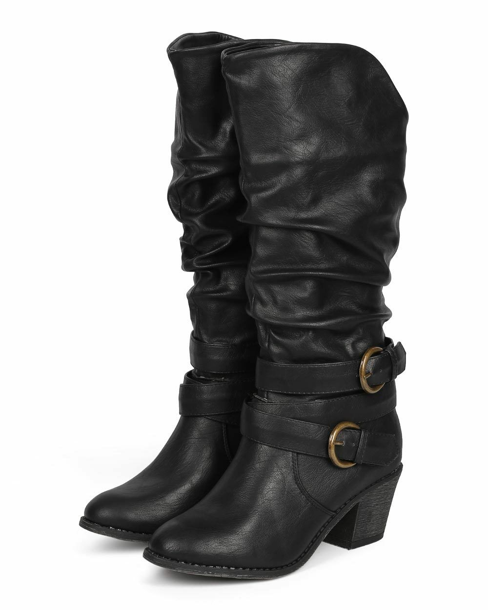 New Women Liliana Daryn-1 Distressed Knee High Slouchy Strappy Riding Boot Size