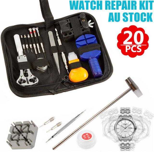 20pcs Watch Repair Tools Kit Set Case Opener Remover Spring Pin Bars Watchmaker