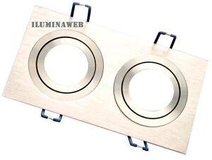 Empotrable-doble-GU10-Cuadrado-Aluminio-Pulido-Natural-y-Aro-Redondo-Cromado