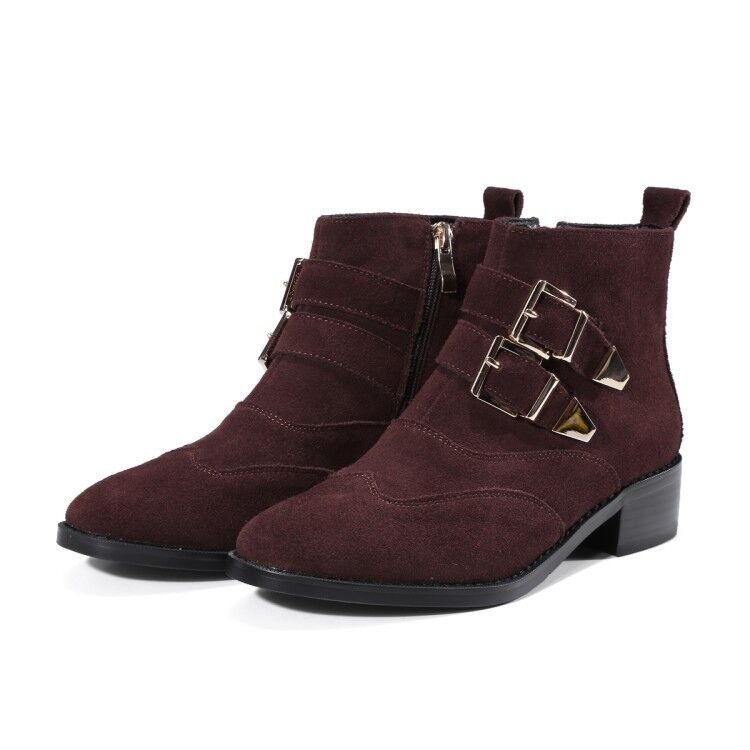 WOmens British Borgue Low Heels Suede Leather Round toe Buckle Strap Ankle bottes
