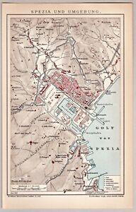 Italien, Italia - Spezia und Umgebung - Alte Landkarte - Lithographie 1903