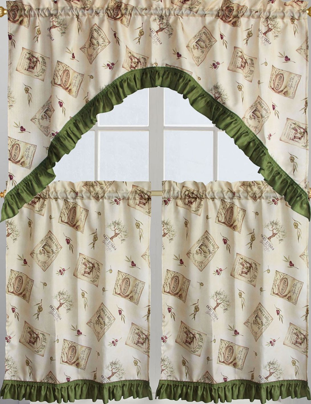 Al Ellis Olives Olive Oil Tuscany Tuscan Kitchen Curtains 56 X 36l Tiers For Sale Online Ebay