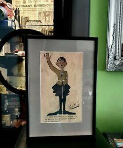 Large-Illustration-of-Hitler-Signed-by-Anti-Nazi-Artist-A-G-Ton-Smits-WW2-framed