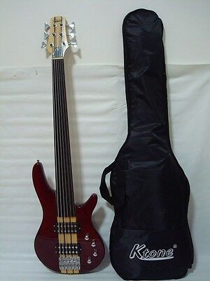 6 String Electric Bass Guitar, Fretless, Solid Wood Neck Through Body /w Gig Bag