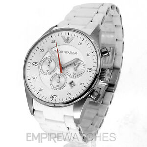 new mens emporio armani white rubber steel watch ar5859 rrp image is loading new mens emporio armani white rubber steel watch