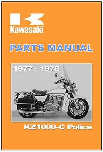 Details about KAWASAKI Parts Manual KZ1000 KZ1000-C Police 1977 & 1978  Spares Catalog List