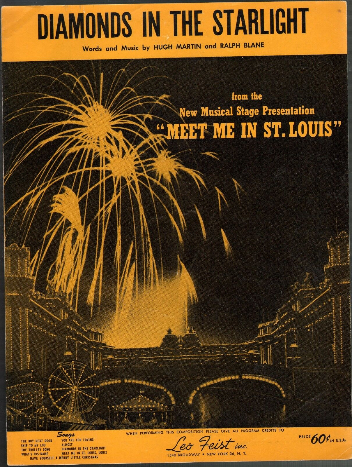 Diamonds In The Starlight 1960 Stage Version of Meet Me In St Louis Sheet Music
